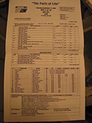 The Call Sheet for the show.
