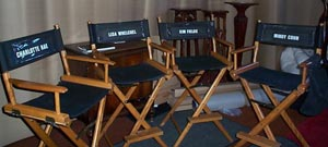 Charlotte, Kim, Lisa, and Mindy's director chairs from the movie.