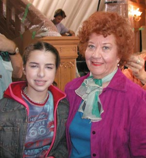 Mrs. Garrett (Charlotte Rae) and Jamie, Jo's daughter (Mallory Margel).