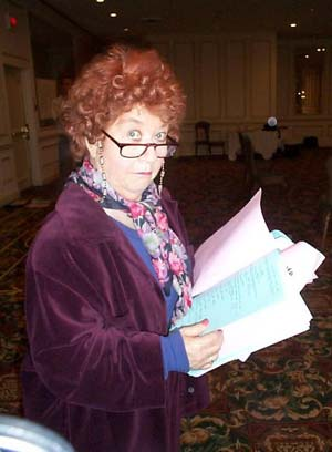 Charlotte Rae reading her script.