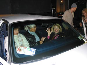 The girls inside the limo.
