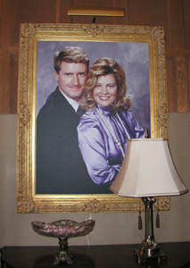 The picture top of the fireplace mantle of Blair and Tad, in their Inn!